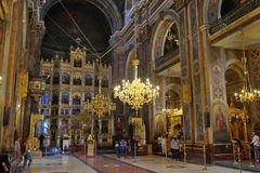 Orthodox church. Interior of Metropolitan Cathedral - landmark attraction in Iasi, Romania royalty free stock photography