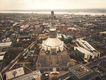 Metropolitan Cathedral of Liverpool from above Royalty Free Stock Photo