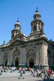 Metropolitan Cathedral and people on the Plaza de Armas in the c Royalty Free Stock Images