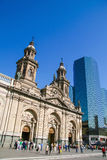 Metropolitan Cathedral and people on the Plaza de Armas in the c Royalty Free Stock Photography