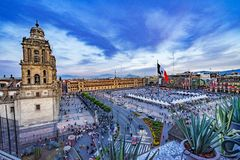 Metropolitan Cathedral Sunset Zocalo Mexico City Mexico royalty free stock photos