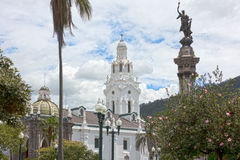 The metropolitan cathedral of Quito seen from the Independence Square Royalty Free Stock Images