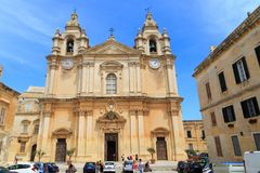 St. Paul`s Cathedral in Mdina, Malta Royalty Free Stock Image