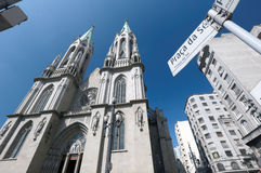 Metropolitan Cathedral or Se Cathedral in sao paulo, brazil Royalty Free Stock Photography