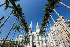 Metropolitan Cathedral or Se Cathedral in sao paulo, brazil Royalty Free Stock Photo
