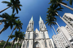 Metropolitan Cathedral or Se Cathedral in sao paulo, brazil Royalty Free Stock Images