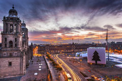 Metropolitan Cathedral Zocalo Mexico City Mexico Christmas Sunrise Stock Photography
