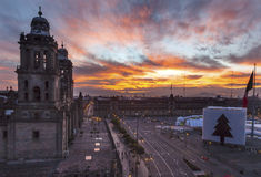 Metropolitan Cathedral Zocalo Mexico City Mexico Sunrise Stock Photos