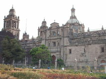 Metropolitan Catholic Cathedral, Mexico. A lateral view of the Catholic Cathedral at square known as Zocalo, Mexico DF Royalty Free Stock Images