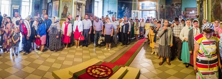 The Metropolitan celebrated the divine Liturgy in the Russian Orthodox Church. Service of Liturgy and the rank of consecration of honey in the Orthodox Church royalty free stock photography