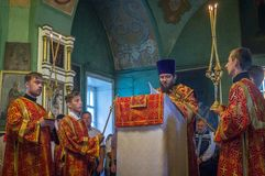 The Metropolitan celebrated the divine Liturgy in the Russian Orthodox Church. Service of Liturgy and the rank of consecration of honey in the Orthodox Church stock photos