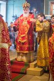 The Metropolitan celebrated the divine Liturgy in the Russian Orthodox Church. Service of Liturgy and the rank of consecration of honey in the Orthodox Church stock images