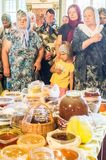 The Metropolitan celebrated the divine Liturgy in the Russian Orthodox Church. Service of Liturgy and the rank of consecration of honey in the Orthodox Church stock photography