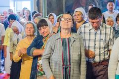 The Metropolitan celebrated the divine Liturgy in the Russian Orthodox Church. Service of Liturgy and the rank of consecration of honey in the Orthodox Church royalty free stock image