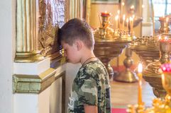 The Metropolitan celebrated the divine Liturgy in the Russian Orthodox Church. Service of Liturgy and the rank of consecration of honey in the Orthodox Church stock photo