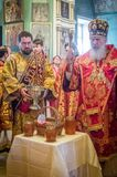 The Metropolitan celebrated the divine Liturgy in the Russian Orthodox Church. Service of Liturgy and the rank of consecration of honey in the Orthodox Church royalty free stock photos