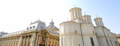 Metropolitan church, Bucharest-Romania. Panoramic view of the metropolitan church and headquarters to the orthodox patriarchy of Romania Stock Photo
