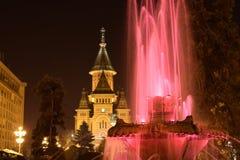 Metropolitan Church and Fountain. Metropolitan Church Timisoara and water Fountain in the night stock photography