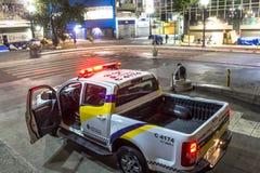 Metropolitan Civil Guard car. Sao Paulo, Brazil, October 06, 2016. Metropolitan Civil Guard car stopped in the square Ramos de Azevedo, downtown of Sao Paulo at stock photography