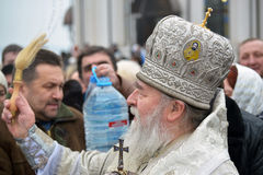 Metropolitan Irenaeus sanctifies water Stock Photos