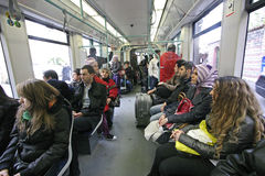 Metropolitan Istanbul. Some passengers on the Istanbul Metro royalty free stock image