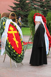 Metropolitan Juvenaly at ceremony of wreath laying Stock Photography