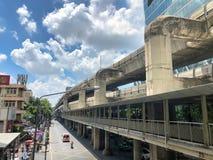 Metropolitan line colled sky train in bangkok. THAILAND, Bangkok - September 11, 2018: in the center of the city the metropolitan line colled sky train, easy royalty free stock images