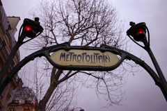 Metropolitan in Paris. Metropolitain entrance of a subway station in Paris Royalty Free Stock Photo