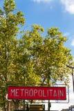 Metropolitan Paris Subway Underground Railway sign. Royalty Free Stock Photography