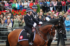 The metropolitan police commissioner. Mounted police during trooping the colour London England royalty free stock photography