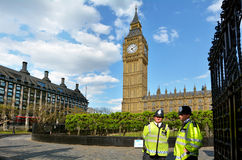 Metropolitan Police Service officers gurad on duty the Big Ben c Royalty Free Stock Images
