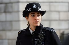 Metropolitan Policewoman on duty Stock Photo