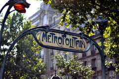 Metropolitan Sign in Paris. Metal Metropolitan Metro Sign in Paris France Royalty Free Stock Image