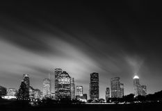Metropolitan Skyline at Night - Houston, Texas. Metropolitan Skyline at Night in Black and White - Houston, Texas Stock Photo