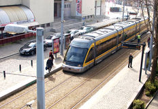 Metropolitan subway on portuguese city Matosinhos. One of the most important means of transport to the Oporto metropolitan working people Royalty Free Stock Image