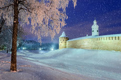 The Metropolitan Tower and Chasozvonya Clock tower in Veliky Novgorod, Russia. The Metropolitan Tower and Chasozvonya Clock tower of Novgorod Kremlin in winter Royalty Free Stock Photo