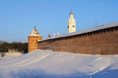 The Metropolitan Tower and chasozvonya of Novgorod Kremlin Stock Image