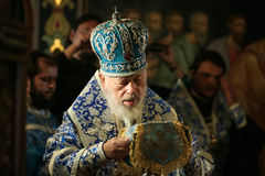 Metropolitan Volodymyr. Kyiv, Ukraine - October 25, 2009: Ukrainian priests as the head of Ukrainian Orthodox Church of Moscow Patriarchate Metropolitan Stock Photography