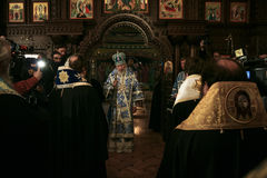 Metropolitan Volodymyr. Kyiv, Ukraine - October 25, 2009: Ukrainian priests as the head of Ukrainian Orthodox Church of Moscow Patriarchate Metropolitan Royalty Free Stock Image