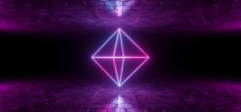 Metropolitana al neon d'ardore Diamond Shaped L di porpora blu futuristica di fantascienza illustrazione vettoriale