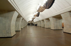 Metropolitana di Mosca, stazione Chekhovskaya Immagini Stock Libere da Diritti