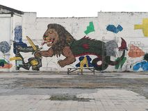 Metropolitana Manila Lion Graffiti fotografie stock libere da diritti