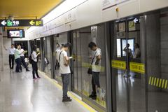 Metropolitana a Shanghai, Cina Fotografia Stock Libera da Diritti