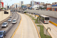 Metropolitano Bus in Lima, Peru. LIMA, PERU - FEBRUARY 13, 2012: Metropolitano bus stop at the crossing of the Avenues Ricardo Palma and Paseo de la Republica in Royalty Free Stock Images