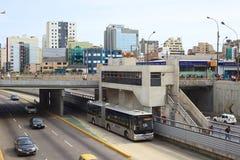 Metropolitano buss i Lima, Peru Royaltyfri Bild