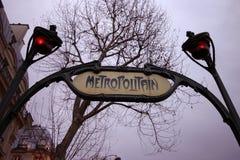 Metropolitano en París Foto de archivo libre de regalías