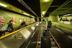 Metroroltrappen, Hong Kong stock afbeelding