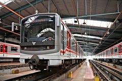 Metros en el depósito Hostivar, Praga Fotografía de archivo