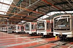 Metros en el depósito Hostivar, Praga Imagen de archivo