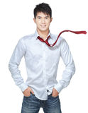 Metrosexual, handsome chinese hunk in white shirt. Blue jeans Stock Photos